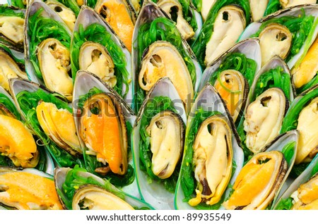 a lot of shellfish snacks on buffet table, catering, shallow DOF - stock photo