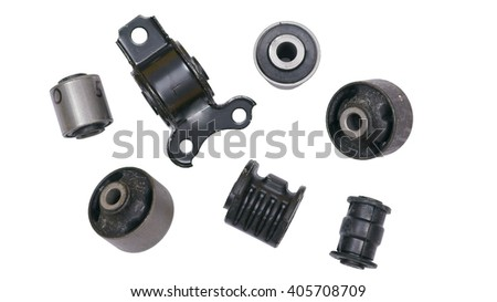 a lot of silent blocks for the car on a white background - stock photo