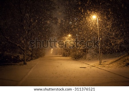 a lot of snowfall and empty walkway - stock photo