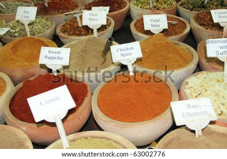 A lot of sorts spices on spice market - stock photo