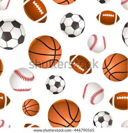 A lot of sport balls for soccer, basketball, baseball and rugby on white, seamless pattern