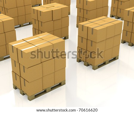 A lot of stacks of carton boxes on a pallets isolated on white background - stock photo
