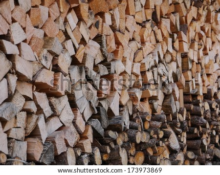 a lot of stapled wood - stock photo