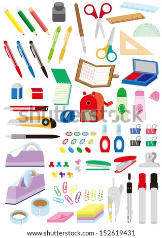 A lot of stationery items - stock photo