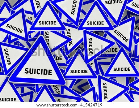 A lot of suicide triangle road sign - stock photo