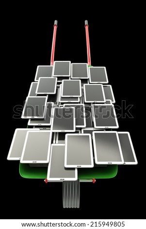 A lot of Tablet PC. isolated on black background 3d illustration. high resolution in chains - stock photo
