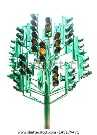 a lot of traffic light - stock photo