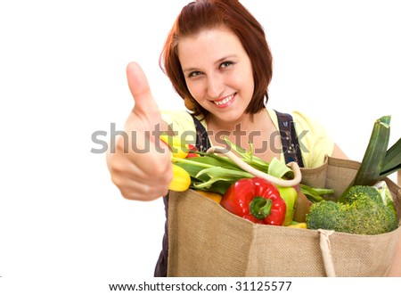 A lot of vegetables in bag - stock photo
