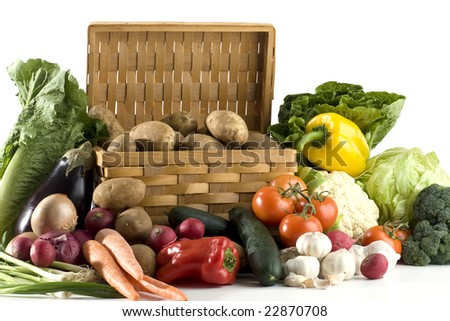 A lot of vegetables of white background - stock photo