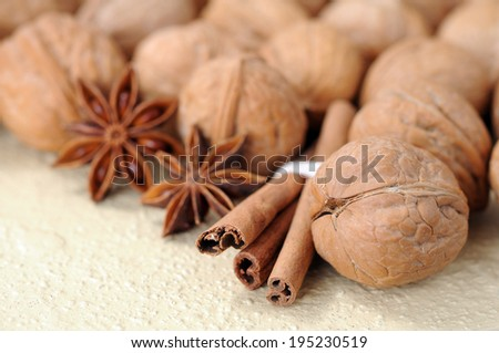 a lot of walnut with cinnamon and star anise  - stock photo