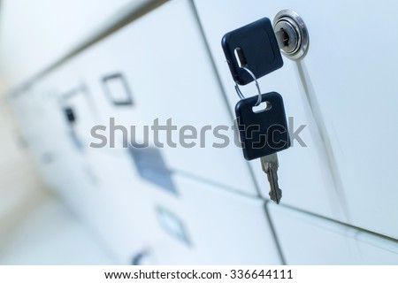 a lot of wardrobes with key - stock photo