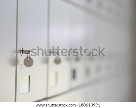 a lot of wardrobes with keys - stock photo