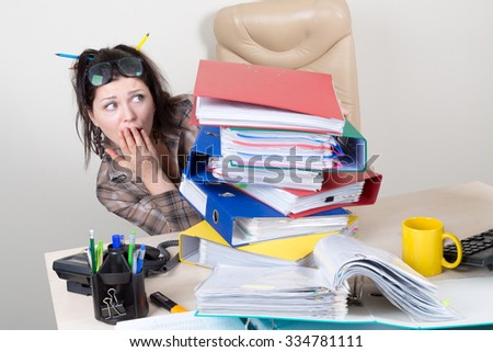 a lot of work for clerk in office - stock photo