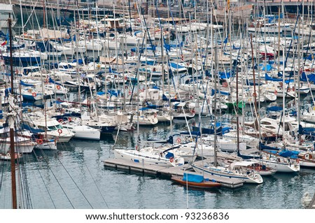 a lot of yachts on the quay at the port, Barcelona, Spain - stock photo