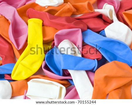 A lot of  yellow, blue, red, orange, pink and white latex uninflating balloons