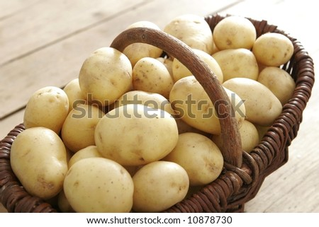 A lot potatoes in the basket