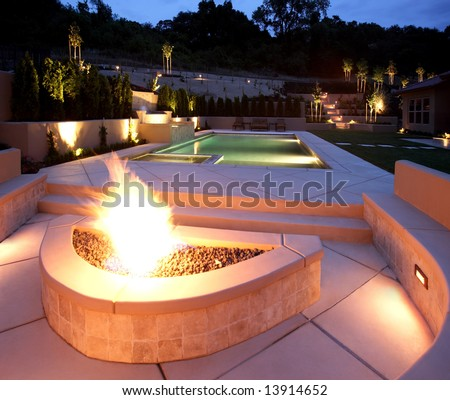 A lounge area in a new luxury backyard - stock photo