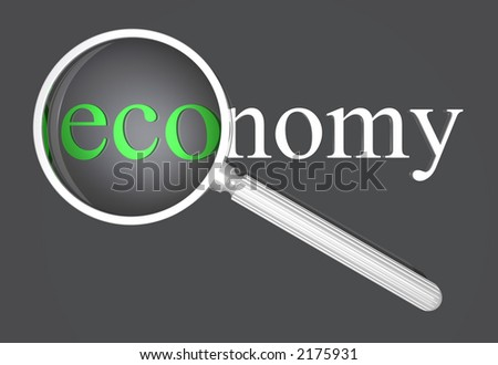 a loupe magnifying the eco part of the word economy. DOF, focus is on the word! - stock photo