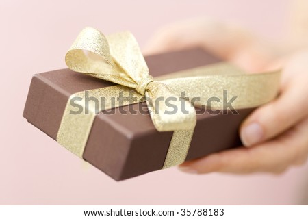 A lovely gift box with woman's hands - stock photo