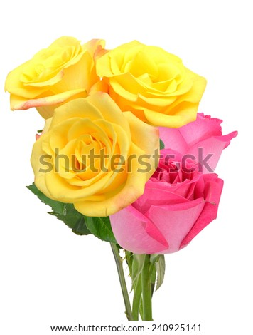 A lovely rose bouquet isolated white - stock photo