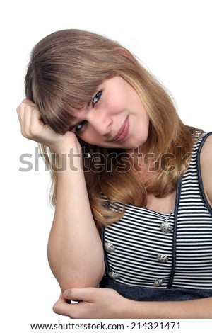 A lovely teenage girl wearing a casual dress, Isolated on a white background.  - stock photo
