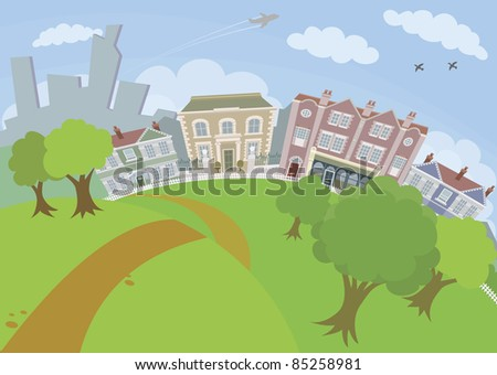 A lovely urban scene with park and houses