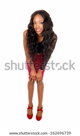 A lovely young African American woman with long curly black hair