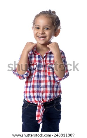 A Lovely Young Girl Posing for Photo Isolated on White background - stock photo