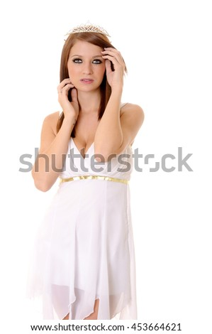 A Lovely young lady wearing a tiara isolated over white