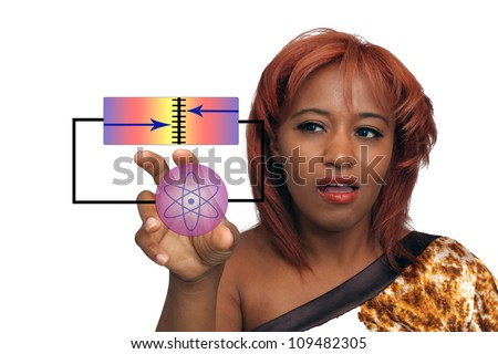 A lovely young redhead turns or adjusts a knob on a futuristic virtual device. - stock photo