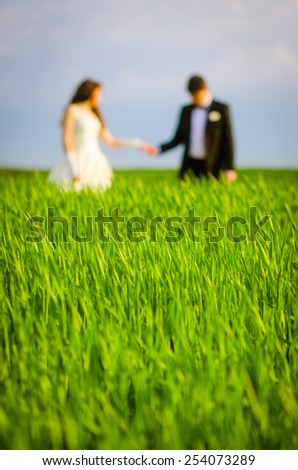 a loving couple in a field - stock photo