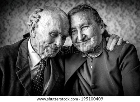 A loving, handsome senior couple. Romantic Senior Couple Hugging. Loving each other forever. Happy retirement concept. - stock photo