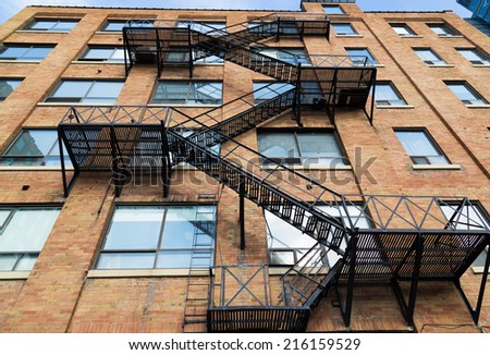 A low angle view of a typical fire escape