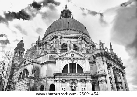 A low angle view of the Santa Maria della Salute church in Venice,Italy. - stock photo