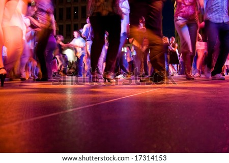 Stock Photo A Low Shot Of The Dance Floor With People Dancing Under The Colorful Lights on Charleston Dance Steps Diagram