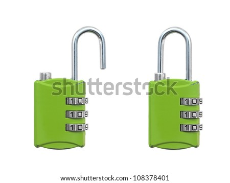 A luggage lock isolated against a white background - stock photo