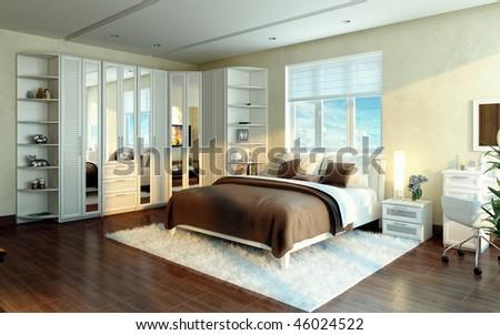 A luxurious bedroom. Interior design idea. Modern style. - stock photo