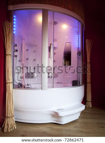 A luxurious design shower cabin. - stock photo