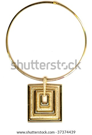 a luxurious gold necklace is isolated on a white background - stock photo