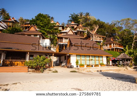a luxurious resort in Phi Phi Island, a tropical Thailand island - stock photo