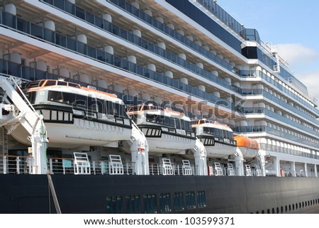 A luxury cruise ship docked at Monte Carlo (Principality of Monaco) - stock photo