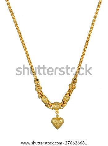A luxury golden necklace with pendant