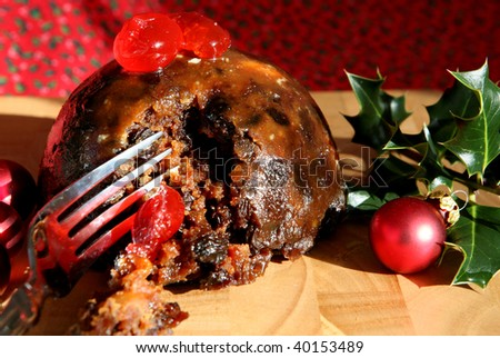 A luxury home made Christmas Pudding - stock photo