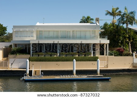 A luxury home on a waterway, Surfers Paradise, Queensland, Australia - stock photo