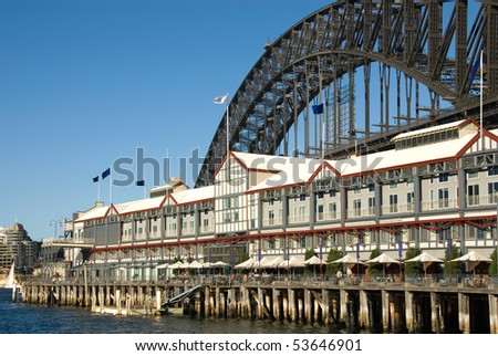 A luxury hotel constructed on a pier, adjacent to the Sydney Harbour Bridge, Australia