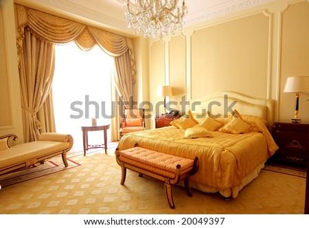 a luxury hotel room - stock photo