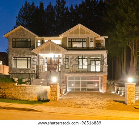 Luxury House Original Glass Garage Doors Stock Photo Royalty Free