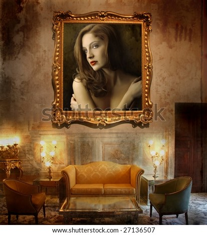 a luxury interior with a woman picture - stock photo