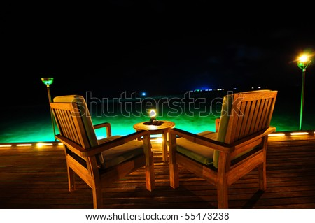 A luxury table set, Maldives - stock photo