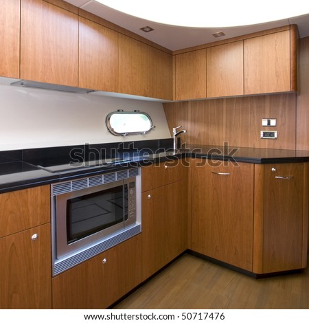 A Luxury Yacht Interior Kitchen